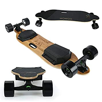 WOWGO 2S 38 Electric Skateboard, 38Km H Top Speed, Max Load 280 Pounds, Uphill 25 -30 , Longboard with Wireless Remote Control Black