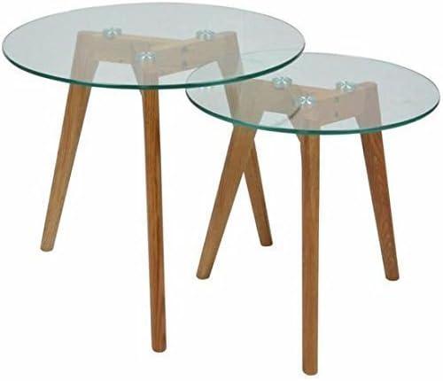 MUIDECO® Design 2 Tables Rondes Basses en Verre de Gigognes Lot Scandinave 5jq3c4LSRA