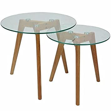 Muideco Lot De 2 Tables Basses En Verre Gigognes Rondes