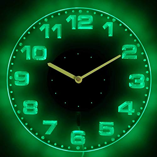 ADVPRO cnc2007-g Round Modern Numerals Illuminated Edge Lit Bar Beer Neon Sign Wall Clock with LED Night -