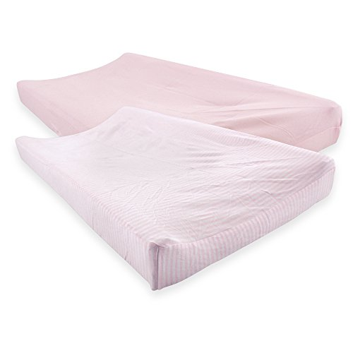 Touched by Nature Organic Cotton Changing Pad Cover, 2 Pack, Barely Pink, One Size by Touched by Nature