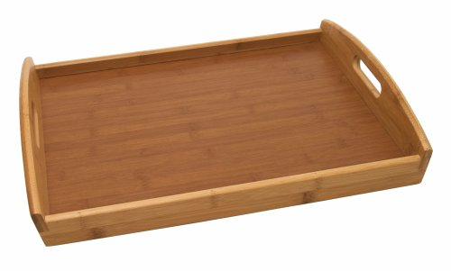 Lipper International 8864 Bamboo Wood Serving Tray with Veneer Bottom, 18.75'' x 13.75'' x 3'' by Lipper International