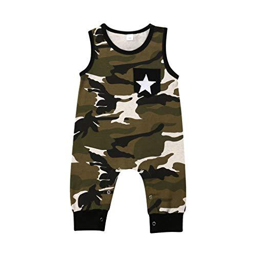 RoDeke 2019 New Infant Baby Boys Sleeveless Camouflage Star Pocket Romper Tassel Jumpsuit Bodysuit Outfit