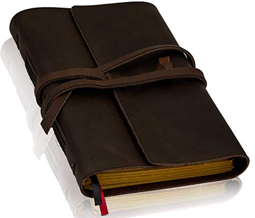 Leather Journal with Lined Pages – Leather Bound Writing Journal for Men & Women (6×8 in), Lined Journal Notebooks for…