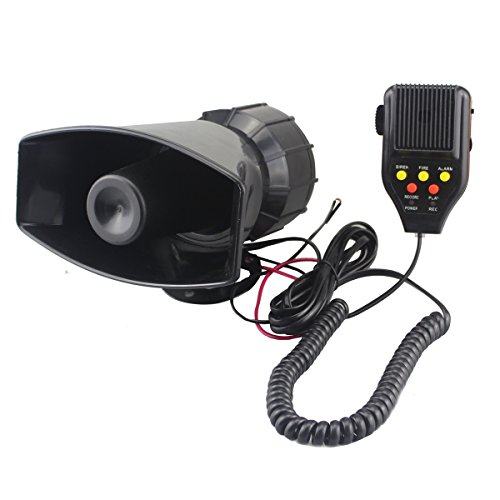 GAMPRO Car Recording Siren Speaker, 12V 80W 3 Tones Car Siren Horn Speaker and Mic PA Speaker System with Recording Function, Volume Control, Switch on-Off Function, Status Indicator Light