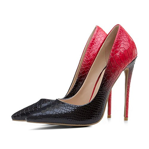 Themost Womens Snake Print Closed Pointy Toe Stiletto High Heels Pumps(Black and Red,8.5)