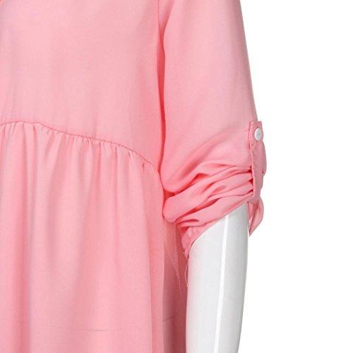 5XL Taille Revers Couleur Femme S Chemise Rose Longue Chemisier Haut Unie de Mousseline Dcontracte Chemises Femme Soie Wolfleague Manche ~ Grande Mesdames lgant OL Shirt T SfnHTx