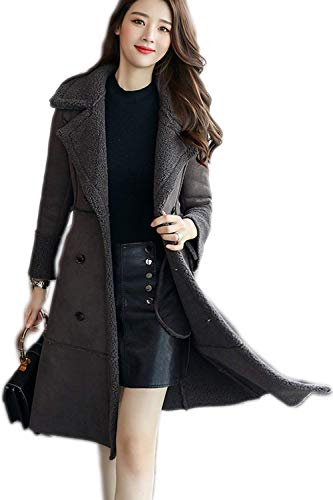 Toison Parka Grey Branché Coupe Mode Latérales Hiver Double Boutonnage Doublure Revers jacke Battercake Femme Trench Longues Manches Poches Chic Outerwear HTSqwX6xZ