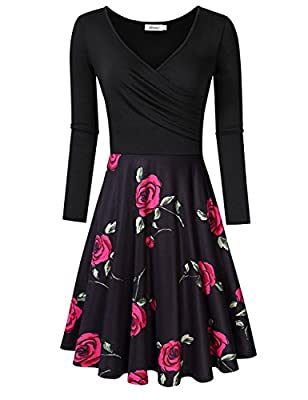 MISSKY Women's V Neck Long Sleeve Pocket Floral Print Swing Casual Dress