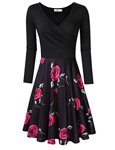 MISSKY Women V Neck Long Sleeve and Short Sleeve Pocket Floral Print Knee Length Swing Casual Dress