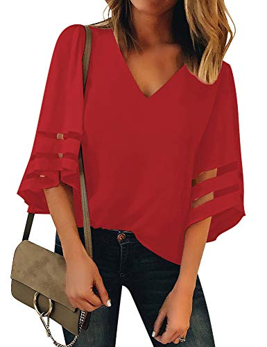 (LookbookStore Women's Red V Neck Casual Mesh Panel Blouse 3/4 Bell Sleeve Solid Color Loose Top Shirt Size L(US 12-14))
