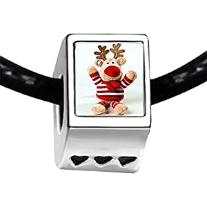 Chicforest Silver Plated Happy Christmas Reindeer Photo Three Heart Charm Beads Fits Pandora Charm