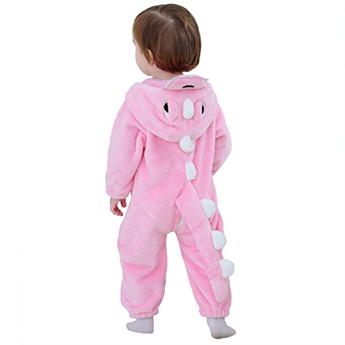 Infant Toddler Dinosaur Romper Costume Fleece Dragon Halloween Birthday Gift (0-6 Months, Pink)
