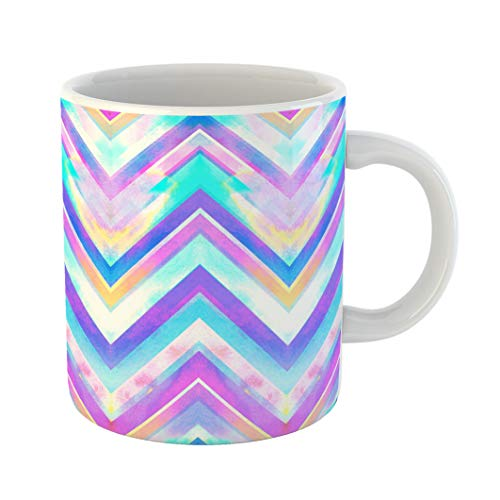 Emvency Coffee Tea Mug Gift 11 Ounces Funny Ceramic Colorful Tie Blue Zig Zag Watercolor Pattern Pink Dye Gifts For Family Friends Coworkers Boss Mug