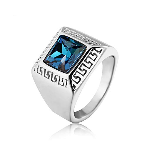 FENDINA Men's Stainless Steel Vintage Great Wall Pattern Square Diamond CZ Ring, Red Blue Green