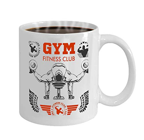 Custom Coffee Mug 11 Oz Ceramic Gifts Tea Cup bodybuilder bodybuilding fitness logos emblems spor ()