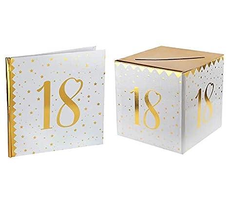 Santex 1 Pack Urne Et Livre D Or Anniversaire Or Et Blanc 18ans