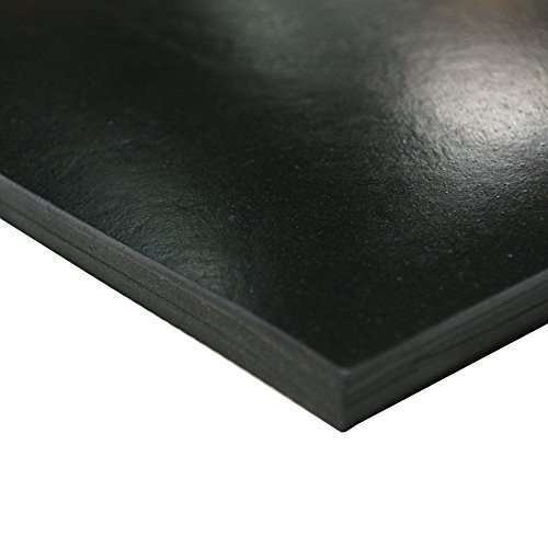 Neoprene Sheet, 40A Durometer, Smooth Finish, No Backing, Black, 0.187'' Thickness, 36'' Width, 36'' Length by Small Parts