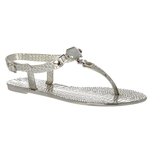 Womens Toe Post Sandals Flat With T-Bar Thong Sandal Silver