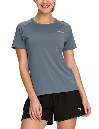 (Baleaf Women's Running Shirts Workout Short Sleeve Quick Dry Tops Round Neck Gray M)