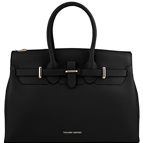 ruga pelle TL141548 Leather a in Nero mano oro Elettra Nude con Borsa media Tuscany accessori Aq70Z8W11