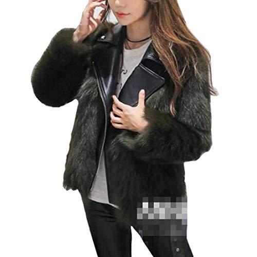 Casual Vita Pelle Fashion Sintetica Vintage Giacca Grün Donna Outwear Alta Giovane Pelliccia Cucitura Di Calda Manica Eleganti Corto Addensare Cappotto Lunga Bavero Invernali xUFTxwY