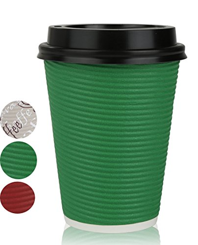 Disposable Hot Coffee Insulated Cups By Golden Spoon – 50 Pack Set Complete With Lids – Stylish Contemporary Ripple Design - Perfect For Take Away Coffee Shops And Bars (12 oz, Green)