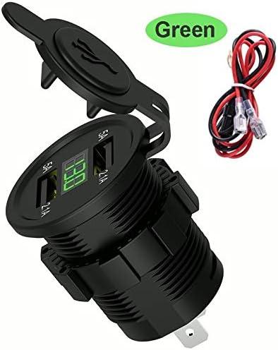 Car 車の充電器、LEDディスプレイカーバッテリー充電器、デュアルUSB車の充電アダプタ用ダストカバー電源ソケット自動車オートバイで Car charger (Color : Green)