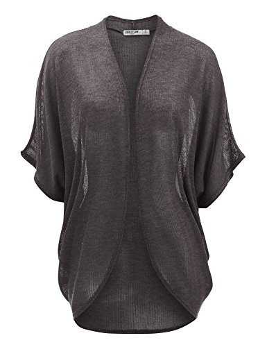 WSK1528 Womens Short Sleeve Open-Front Batwing Cardigan - Made in USA XL Charcoal