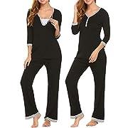 MAXMODA Women's Long Sleeve Pajamas Set Sleep Shirt with Elastic Waist Pants Black S
