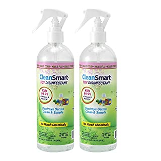 CleanSmart Toy Disinfectant Spray, 16 Ounce Bottle (Pack of 2), Naturally Kills 99.9% of Germs, Bacteria Without Rinsing, No Chemical Residue