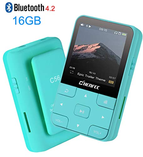 HONGYU 16GB Clip MP3 Player with Bluetooth 1.5 Inch Display Portable Sport Mini Lossless Music Player with FM Radio/Voice Record for Running (Support up to 128GB)