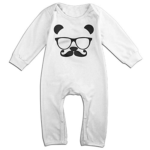 Flannel Nerd Costume (Baby Infant Romper Panda Nerd With Glasses Long Sleeve Jumpsuit Costume White 24 Months)