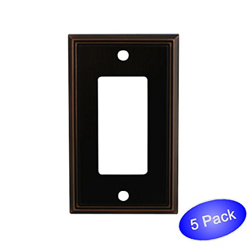Cosmas 65000-ORB Oil Rubbed Bronze Single GFI / Decora Rocker Wall Switch Plate Switchplate Cover - 5 Pack (Bronze Venetian Switchplate)