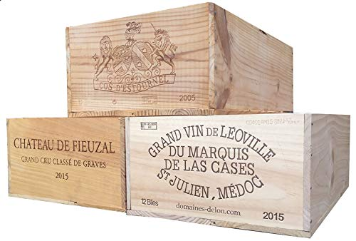 (Vineyard Crates One (1) Decorative French Wine Crate - Wooden Box for Wine Storage Wedding Decor DIY Projects Garden Planter Boxes NO Lid NO Storage)