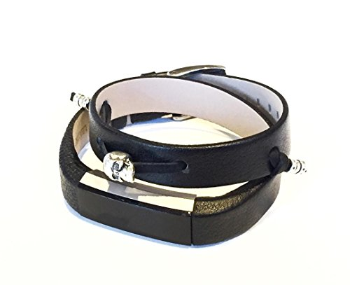 Double Wrapped Leather Bracelet Silver