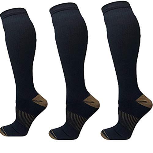 2/3Pairs Compression Socks, 15-25mmHg Medical Sport Nursing Compression Socks for Men Women Marathon Maternity Pregnancy Flight Shin Splints Edema Varicose Veins (C-3Black, S/M)