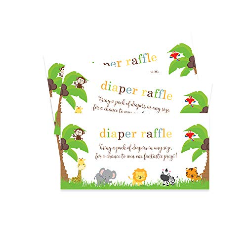 Jungle Diaper Raffle Tickets - Pack of 25 - Baby Shower Games ()