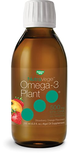 Nature's Way NutraVege Omega-3 Plant Based Liquid Supplement- Vegetarian, Vegan- Strawberry + Orange Flavor, 6.8 oz