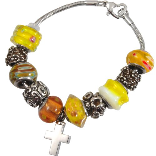 Memorial Gallery Sunrise Yellow Remembrance Bead Pet Cross Urn Charm Bracelet, 8'' by Memorial Gallery