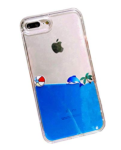 more photos ccb41 ac5cb UnnFiko Dynamic Blue Liquid Floating Cute Dolphin Case Replacement for  iPhone 6 Plus / 6s Plus, Flexible Soft Transparent Clear Flowing Case  Liquid ...
