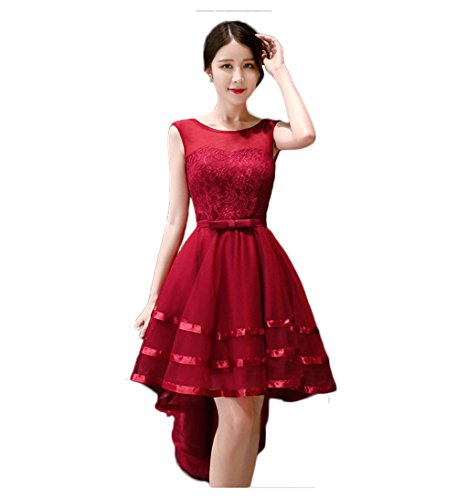 Dress Neck Dress Prom Botong Lace Cocktail Burgundy Tiered Top Scoop Asymmetrical YR5x5qgwB