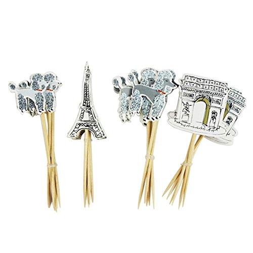 Globeagle 24pcs Paris Eiffel Tower Cupcake Topper Pick Wedding Birthday Party Decor (Eiffel Candle Tower Sticks)