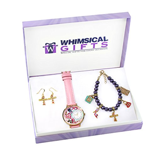 Whimsical Gifts Shopper Mom Gold 3-Piece Watch-Bracelet-Earrings Jewelry Set