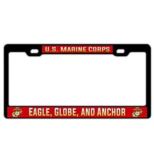 - huizehonghong US Marine Corps USMC Eagle, Globe, Anchor License Plate Frame for Women/Men, Custom License Plate Frames Holder, Cute Decorative for US Standard Car License