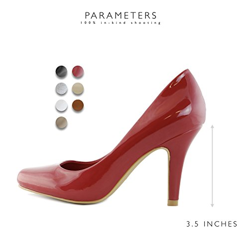 High Round Pump Fashion Party Lily 01 Dress Pt Evening Toe Women's Versatile DailyShoes Elegant Low Classic Stiletto Heel Shoes Red wq8IxgB7