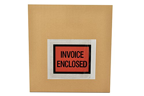 "Invoice Enclosed Packing List Envelopes Full Face Back Load 2.0 Mil Thick - 4.5"" X 5.5"" 1000/Case"