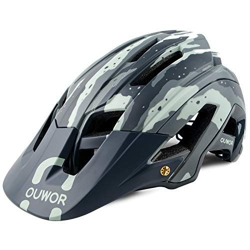 OUWOR Road & Mountain Bike/MTB Helmet with Removable Visor and Adjustable Dial, CPSC Certified (Camouflage Green)