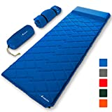 MalloMe Sleeping Pad Camping Air Mattress - Self Inflating Mat Bed for Backpacking Adults - Inflatable Ultralight Insulated Soft Foam Sleep Gear - Lightweight Travel Cot Roll Mats Accessories Blue