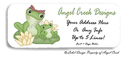 60 Mommy Frog Lily Pad Bow Tie Personalized Return Address Labels
